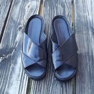 Cole Haan  Criss Cross Black Leather Slide Sandals